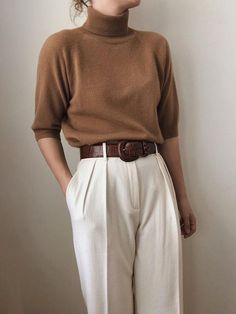 Fashion Pure Color High Collar Middle Sleeve Sweater Source by hotpinkbunnies. - Winter Outfits for Work Retro Outfits, Mode Outfits, Cute Casual Outfits, Vintage Outfits, Vintage Clothing Styles, Casual Guy, Guy Outfits, Woman Outfits, Vintage Hats