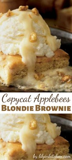 Keep your comfortable eating pants on and enjoy the deliciousness of these brownies from your own home with this Copycat Applebee's Blondie Brownie recipe Print Copycat Applebees Blondie Brownie Prep Time: 30 minutes. Applebee's Blondie Brownie Recipe, Blondie Brownies, Brownie Recipes, Cookie Recipes, Dessert Recipes, Dessert Ideas, Just Desserts, Delicious Desserts, Yummy Food