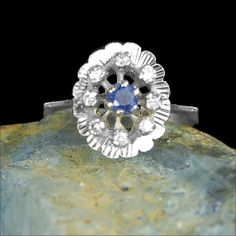 French estate Diamond and Sapphire Ring