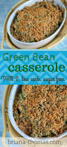 Green Bean Casserole (THM:S, low carb, sugar free) - it's the perfect healthy side dish that everyone can eat for Christmas dinner!  Also included in the post are some of my tips for surviving holiday parties/dinners if you're on THM or are low-carbing.