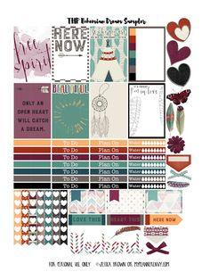 Free Printable Bohemian Dream Planner Stickers {PDF, JPG and Studio3.  For The Happy Planner and Erin Condren} from myplannerenvy.com