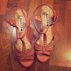 American Eagle Sandals with Heels American Eagle Sandals with Heels. Strappy. Pumpkin Color. Comfortable. Stacked Heel. Gently Used. Great Condition. American Eagle Outfitters Shoes Heels