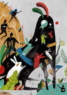 Aditya Pratama aka Sarkodit es un ilustrador indonesio que crea pinturas surrealistas, de múltiples capas donde las formas figurativas desentrañan en escenarios de ensueño. . Situaciones ordinarias, como leer un libro en un parque, no son lo que parecen y hasta los objetos inanimados pueden cobrar vida con personalidades coloridas.