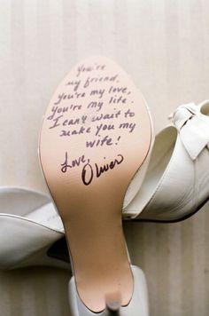 Cute wedding idea bride/groom heels