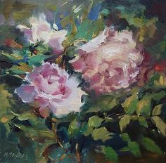 Mary Maxam - paintings: A Little Old Fashioned - rose floral in dusty pinks