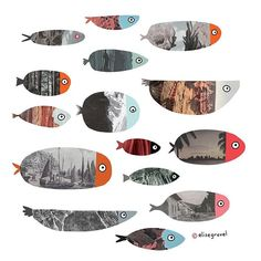 Of course I had to do these. Landscape fish! #collage #illustrationoftheday #fish #illustration