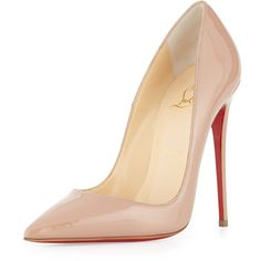 Christian Louboutin So Kate Patent Red Sole Pump ($720) ❤ liked on Polyvore featuring shoes, pumps, heels, christian louboutin, sapatos, nude, red sole pumps, nude patent leather pumps, patent pumps and patent pointed toe pumps