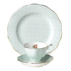 Royal Albert Polka Rose Formal Vintage Teacup and Saucer Green