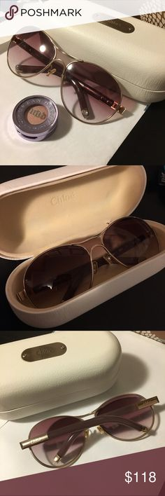 Chloe aviator sunglasses Beautiful Chloe aviator sunglasses. Pretty purple arms. Chloe mark on side of legs/arms. Gently used. Good condition. 100% authentic. 100% UV protection. Comes with Chloe white sunglass case. Chloe Accessories Sunglasses