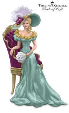 FIRST limited-edition Thomas Kinkade Victorian lady figurines inspired by his opulent manors art and graced with handset faux gems and real feathers.