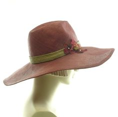 Rust Red Wide Brim Straw Hat for Women by TheMillineryShop on Etsy Wide-brim  Hat 1573e692042e