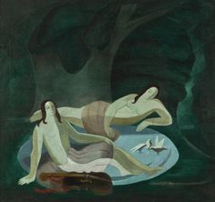 Alexandra Exter (Russian, 1882-1949), Nudes in an Emerald Forest with Cello, undated. Oil on canvas.