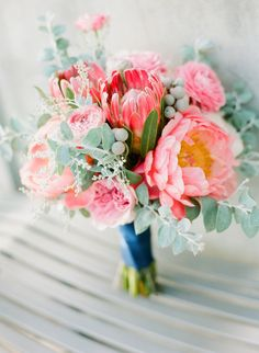 #Bouquet | #Peony | #Protea | #Pink ! | See more on SMP Weddings: http://www.stylemepretty.com/2013/05/21/santa-monica-wedding-from-orange-blossom-special-events/ Photography: Kirsten Ellis