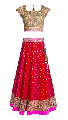 Anushree Reddy's Red & Pink Lehenga Set - JIVA