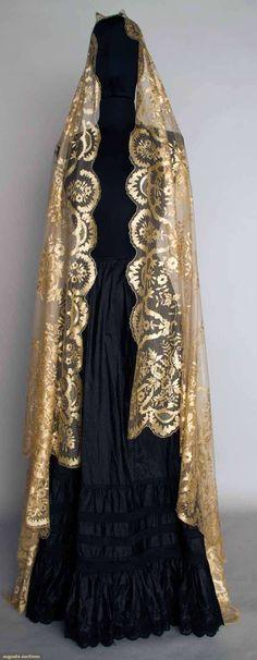 """Silk reseau w/ hand embroidered & drawnwork silk toile, design of flower garlands, bows, & drawnwork catouches, 60"""" x 98"""