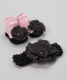 Another great find on #zulily! Black Flower Socks & Headband by Vitamins Baby #zulilyfinds
