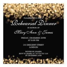Wedding Rehearsal Dinner Gold Lights Personalized Invite