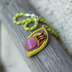 Bead Embroidered Green and Purple Necklace with Shibori ribbon on Etsy, $56.52 AUD