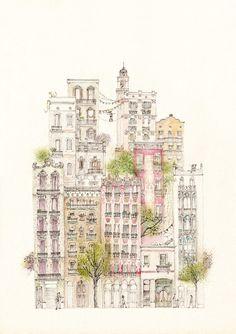 Els balcons de Barcelona by Krystel Cárdenas, via Behance