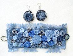Blue Jean Denim & Lace Cuff Bracelet-Denim Cuff Bracelet - -Jeans Bracelet - Blue Denim Cuff / Textile Bracelet - It is a unique denim bracelet made of denim and lace. The blue shades give this an om - Bracelets Bleus, Fabric Bracelets, Cuff Bracelets, Denim And Lace, Textile Jewelry, Fabric Jewelry, Jewellery, Denim Armband, Bracelet Denim