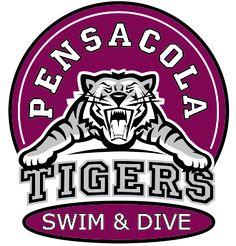 IZA DESIGN swim and dive team shirts.  Custom Swim and Dive Team T-Shirt Design - College Tiger Staff (desn-692c5).  Specializing in custom school swim team and dive team tshirts since 1987!