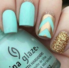 beauty, blue, china glaze, glitter, gold, inspiration, makeup, nail polish, nails, summer, teal, turquoise
