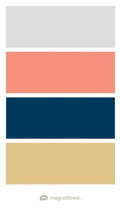 Silver, Coral, Navy, and Gold Wedding Color Palette - custom color palette created at MagnetStreet.com