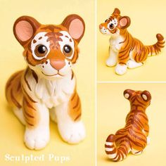 Golden tiger cub sculpture by SculptedPups on DeviantArt Polymer Clay Figures, Cute Polymer Clay, Polymer Clay Animals, Cute Clay, Fimo Clay, Polymer Clay Charms, Paper Mache Crafts, Doll Crafts, Clay Crafts