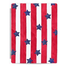 iPad Cover / Case - Modern red watercolor stipes blue stars 4th of... ($50) ❤ liked on Polyvore featuring accessories, tech accessories, ipad cover / case, ipad cover case, ipad sleeve case, apple ipad case, ipad cases and apple ipad cover case