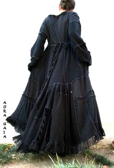 AuraGaia's Ravennia~ Poorgirl Boho Tattered Upcycled Long Dress M-1X Plus
