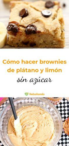 Cómo hacer un rico brownie de plátano y limón sin azúcar #brownie #blondies #platano #postresdeplatano #recetasdepostres #postresdelimón