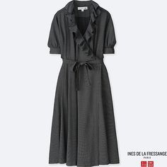 d5aae5d68cf26 WOMEN IDLF RAYON WRAP-FRONT SHORT-SLEEVE DRESS, BLACK, large Summer  Collection. Uniqlo US