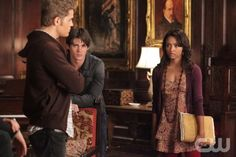 """Masquerade"" - Paul Wesley as Stefan, Steven R. McQueen as Jeremy, Katerina Graham as Bonnie in THE VAMPIRE DIARIES on The CW.  Photo: Quantrell D. Colbert/The CW  2010 The CW Network, LLC. All Rights Reserved."