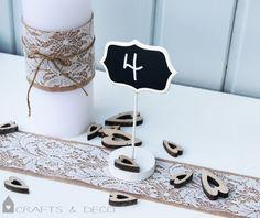 Dekoration - Tischnummern Hochzeit Tafel - ein Designerstück von CraftsandDeco bei DaWanda