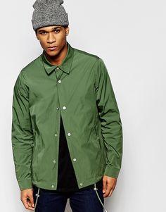 Image 1 ofASOS Coach Jacket With Contrast Lining In Khaki