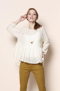 blouse Gyoza écru 90% coton, 10% nylon - blouse - Des Petits