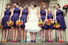 I LOVE the colors this bride chose.  Each of the bridesmaids have flowers wrapped in ribbon that matches their shoes.  So Fun!