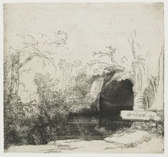 Rembrandt - The Boat House (A Grotto with a Brook). 1645 Rembrandt - The Boat House (A Grotto with a Brook). Rembrandt Etchings, Rembrandt Drawings, Leiden, Landscape Drawings, Landscape Paintings, Etching Prints, Nature Drawing, Dutch Painters, Chiaroscuro