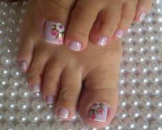 89 Melhores decorações do grupo de Unhas Decoradas Pretty Toe Nails, Cute Toe Nails, Pedicure Nail Art, Toe Nail Art, French Toe Nails, Toe Nail Designs, Nail Shop, Holiday Nails, Blue Nails