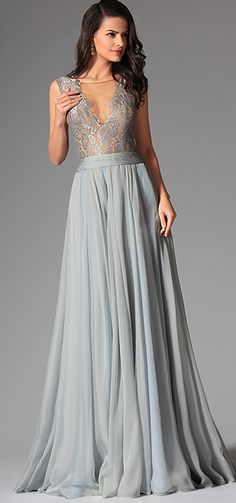 Bluish Grey Sexy Deep V-neck Embroidered Lace Formal Gown