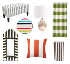 """""""Stripes"""" by nancy-nicol ❤ liked on Polyvore featuring interior, interiors, interior design, home, home decor, interior decorating, Pottery Barn, Kate Spade, MacKenzie-Childs and Skyline"""