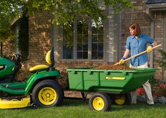 John Deere Poly Cart – ready for winter storm clean-up and spring gardening - Lawn Mower John Deere Attachments, Tractor Attachments, Old Ford Trucks, Lifted Chevy Trucks, Pickup Trucks, Lawn Sprinklers, Riding Mower, Yard Care, Winter Storm
