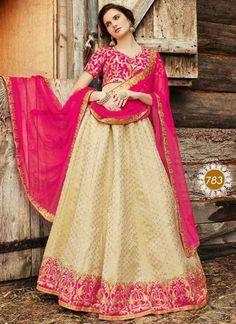 Beige Magenta Embroidery Work Brocade Net Designer Fancy Wedding Lehenga Choli