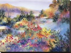 August Morning Watercolor Landscape, Landscape Art, Watercolor Flowers, Landscape Paintings, Watercolor Paintings, Watercolor Ideas, Amazing Art, Amazing Things, Stretched Canvas Prints