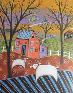 2 Sheep Landscape 11x14 ORIGINAL CANVAS PAINTING birds FOLK ART Karla Gerard #FolkArtAbstractPrimitive