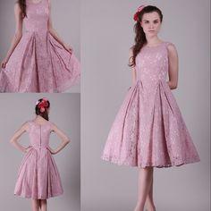 Romántica boda de dama de honor vestidos hasta la rodilla rosa gracia encaje gasa de la muchacha Formal vestidos fiesta vestidos de dama de honor de BD20(China (Mainland))                                                                                                                                                                                 Más