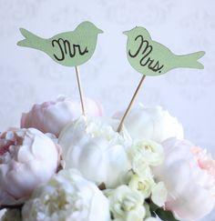 Wedding Cake Topper Love Birds Mr. & Mrs. Shabby by braggingbags, $29.00