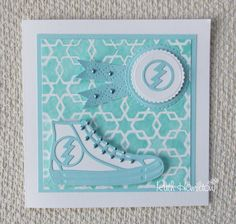 As a little relief from Christmas cards today - here's a card made with Tonic Studios' Canvas Sneaker die, Scalloped Circle  layering di...