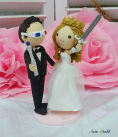 Wedding cake topper clay dollgroom with Doctor Who's by AsiaWorld, $89.50