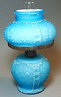 Miniature Blue Satin Glass Oil Lamp